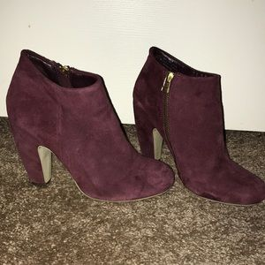 Ruby red suede booties